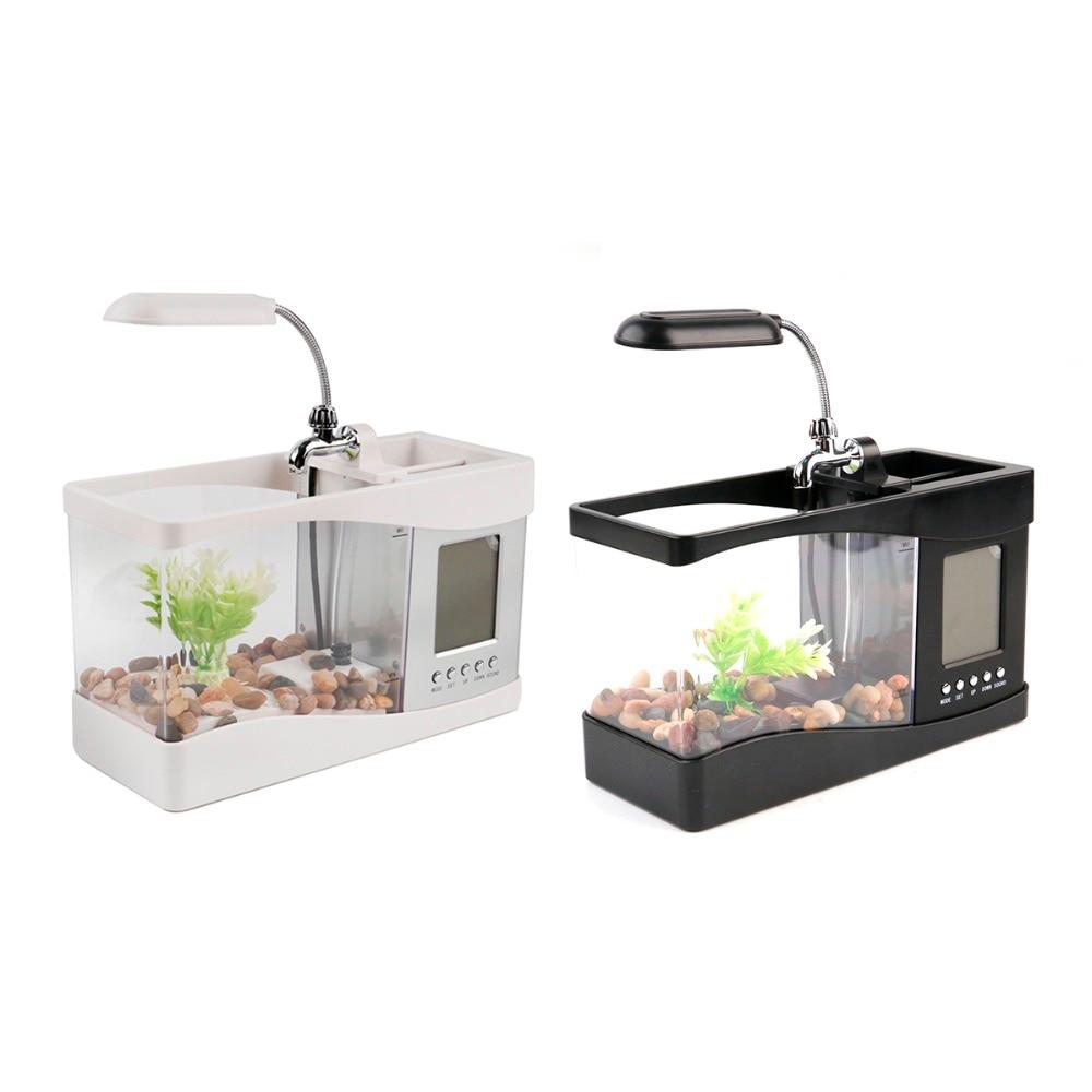USB Acrylic Mini Fish Tank Aquarium Led Lighting Light With Alarm ...