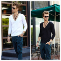 Fashion autumn and winter men's clothing V-neck long-sleeve T-shirt deep v neck cotton brief 100% basic shirt sexy low collar