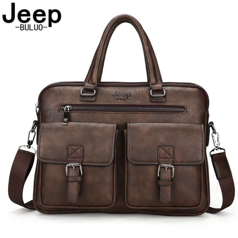 JEEP BULUO Briefcase Bags For Men Business Fashion Office Work Handbags Famous Brand New Design Men's Briefcase 14' Laptop Bag