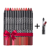 12 Color/set Waterproof Lipstick Pen Lasting Lipstick with Pencil Sharpener Pigments Lip Balm