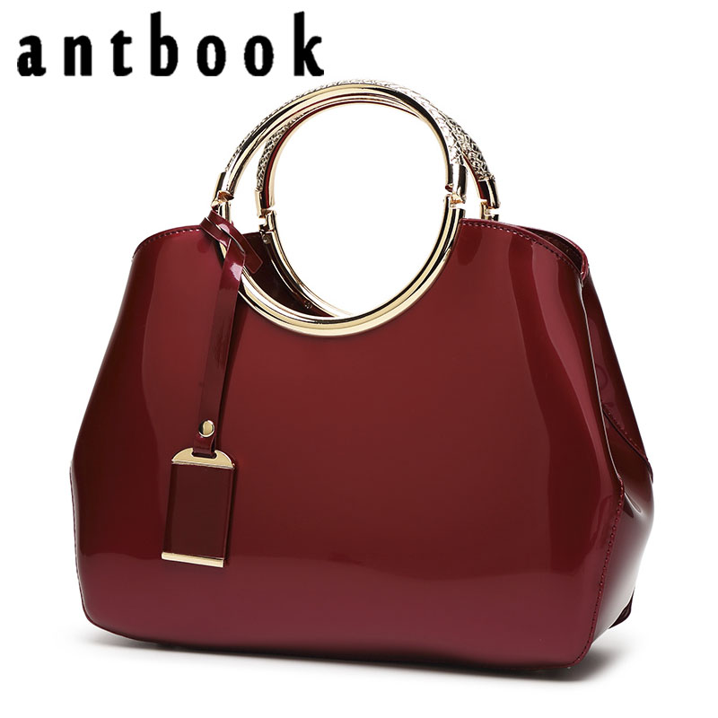 ANTBOOK High Quality Patent Leather Women Handbags Brand Designer Solid Tote Fashion Large Capacity Women Bags недорого