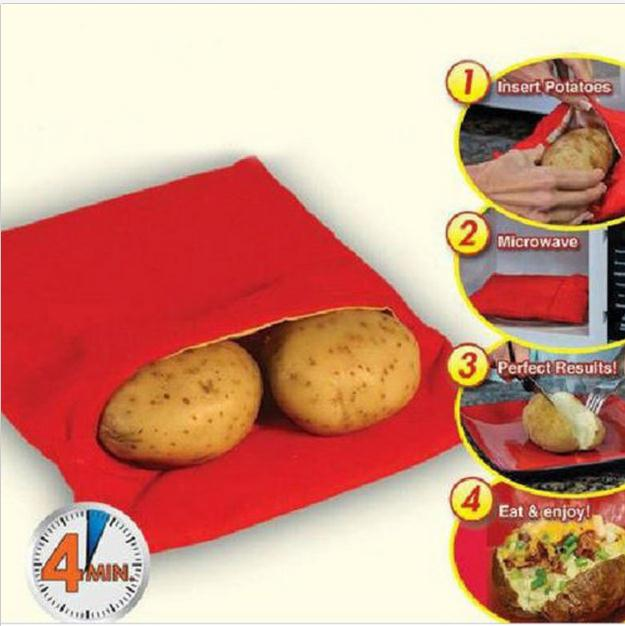 Red Washable Cooker Bag Baked Potato Microwave Cooking Quick Fast Cooks 4 Potatoes At