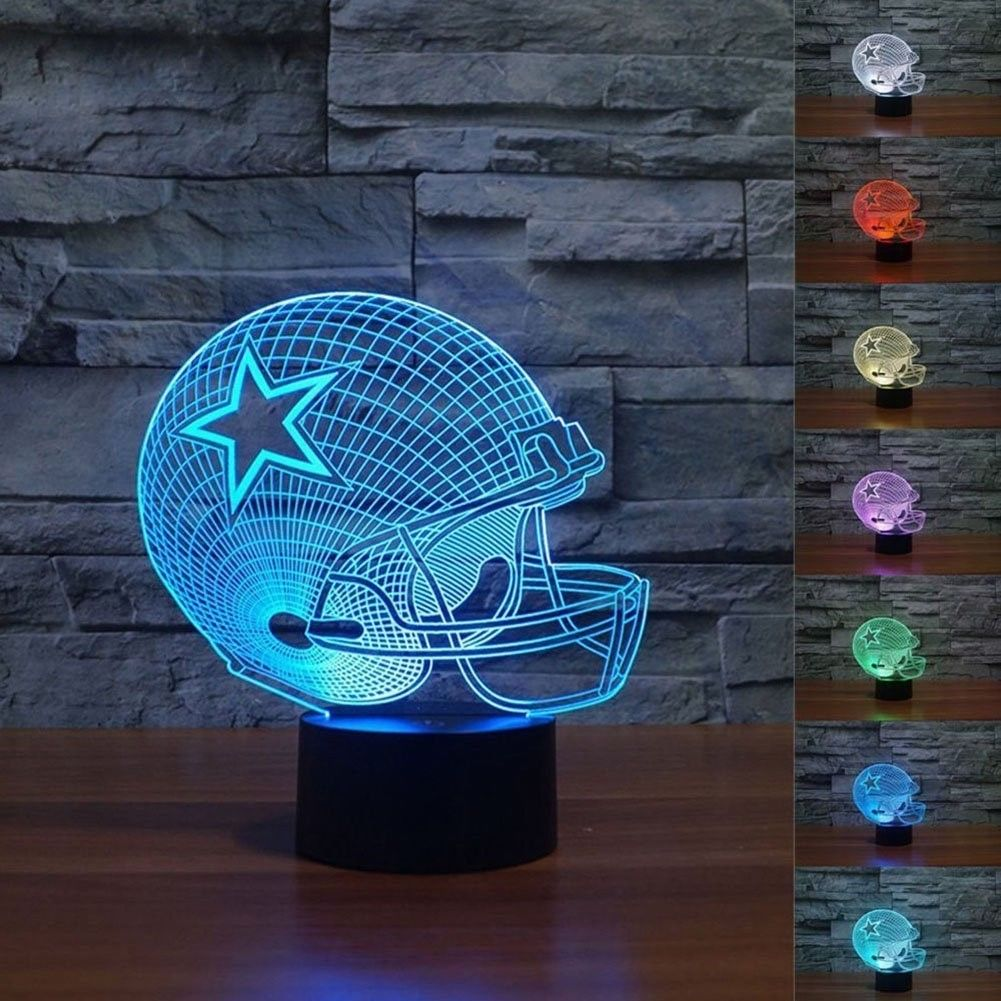 3D Touch Light Nfl 3D Football Helmet 3D Illusion Night Light 7 Colors Change Desk Lamp Gift New