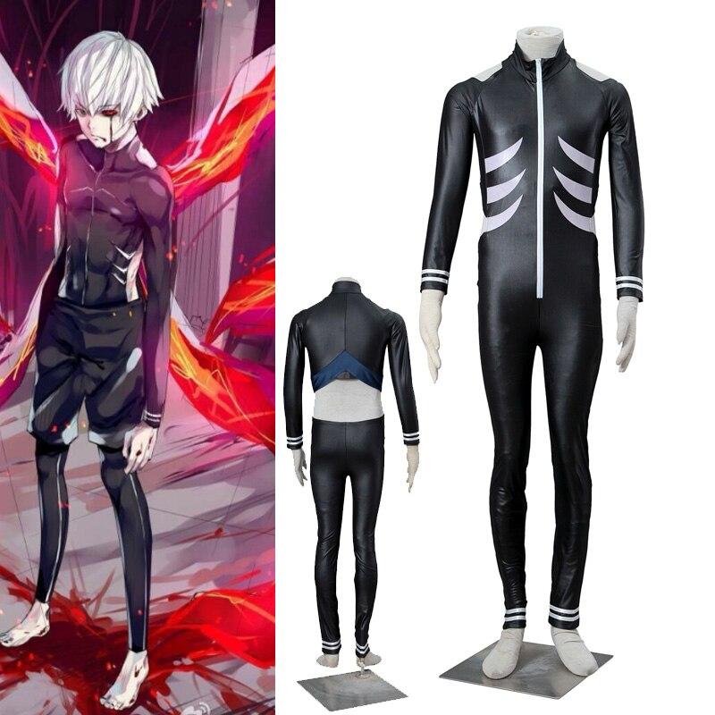 ROLECOS Anime Perucas Cosplay Tokyo Ghoul Ken Kaneki Cosplay Costumes Casual Men Jumpsuit Onepiece Black Halloween Costume