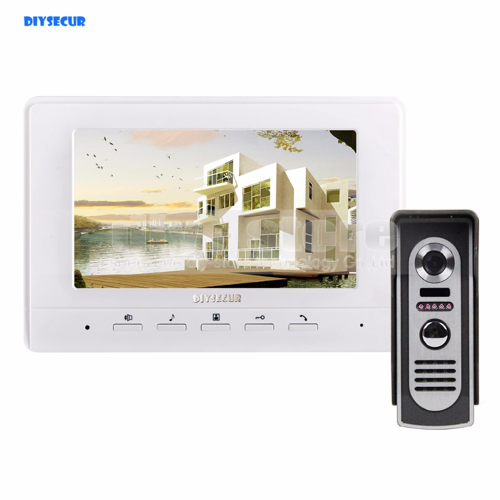 DIYSECUR 7inch Video Intercom Video Door Phone 600TV Line IR Night Vision Outdoor Camera for Home / Office Security System diysecur 7inch video door phone doorbell video intercom metal shell camera led night vision 1 monitor black for home office