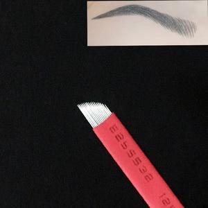 Image 4 - 50 pces 0.18mm microblading needles12/14/18/21 flex permanente maquiagem lâminas manual sobrancelha tatuagem agulhas de lâmina curvada