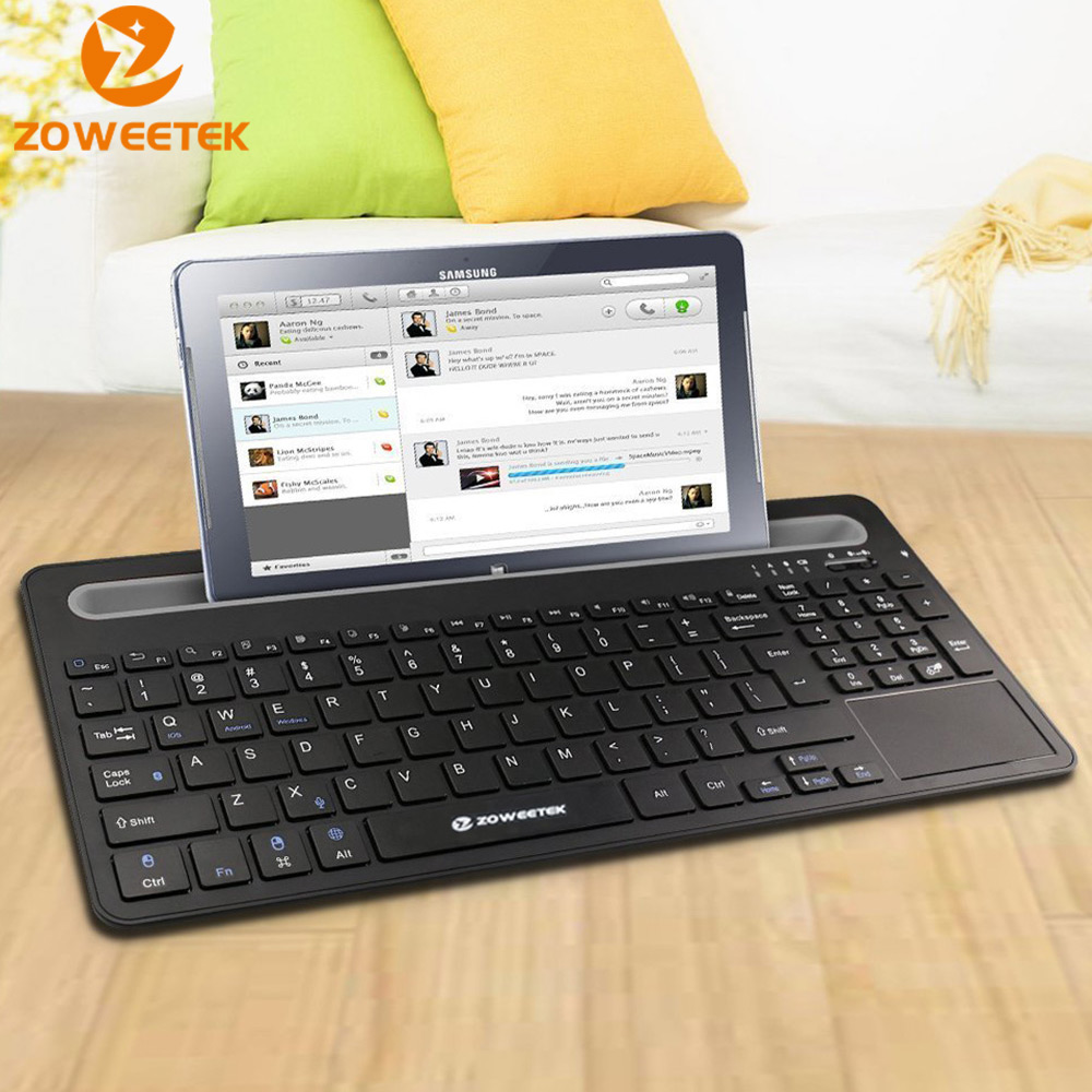 Zoweetek ZW07 Wireless Bluetooth Keyboard English Touchpad Mouse Combo For Phone Tablet PC HTPC Google Android Smart TV BOX IPTV