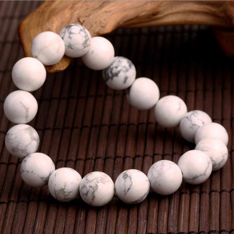 Hot Sell Fashion jewelry 10MM  Natural white stone beads Charm Bracelets