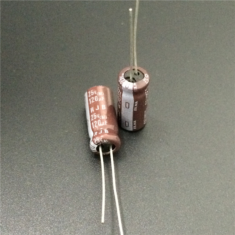 20pcs 25V 120uF 25V Japan ELNA RJB 6x15mm Low Impedance Audio Capacitor