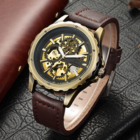 Relojes Hombre Steampunk Automatic Watch Men Shenhua Antique Bronze Skeleton Mechanical Retro PU Leather Watches Colck Man