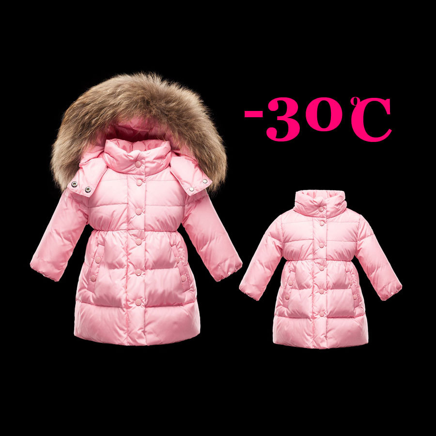 Winter Girls Down Coats Baby Snow Wear Children Warm Jackets Thick Down Coats Natural Fur Cap Detachable Hood 2017 fashion girls children thick duck down coats grils warm long model down jackets fur coats for cold winter girl cloth 4 13y
