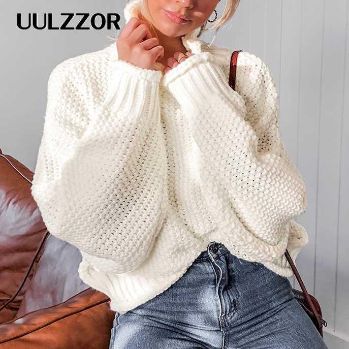 UULZZOR col roulé hiver 2019 tricoté pull femmes pulls décontracté Orange chandails en vrac femmes pulls