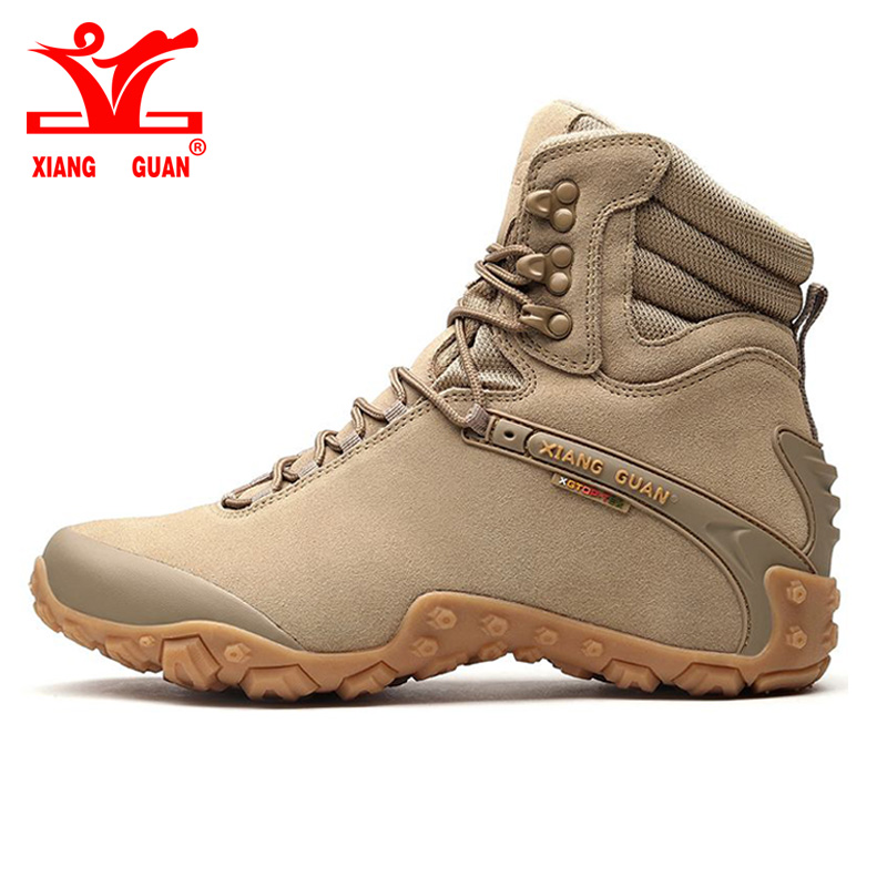 Xiang Guan mens Cow Leather High cut Tactical Boot women hiking shoes Waterproof damping Camping Climbing Footwear Sneaker 44 45 цена и фото