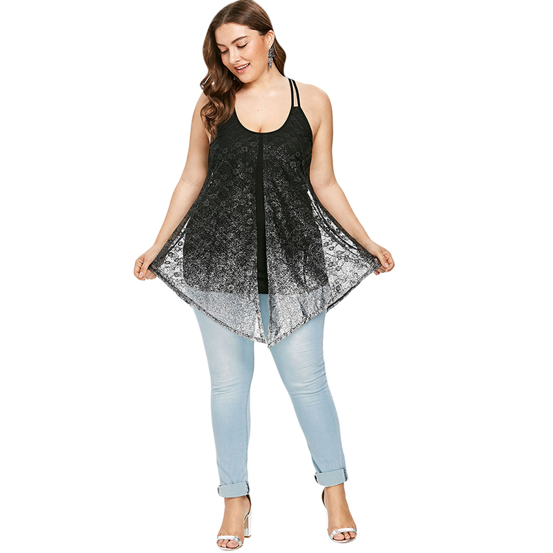 572c564efae33 PlusMiss Plus Size 5XL Sexy Glittery Sequin Boho Beach Loose Spaghetti  Strap Cami Tops Sleeveless Top Women Summer 2018 Big Size-in Camis from  Women s ...