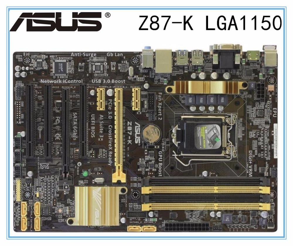 Asus Z87-K Desktop Motherboard Z87 Socket LGA 1150 I7 I5 I3 DDR3 32G SATA3 USB3.0 ATX Mainboard