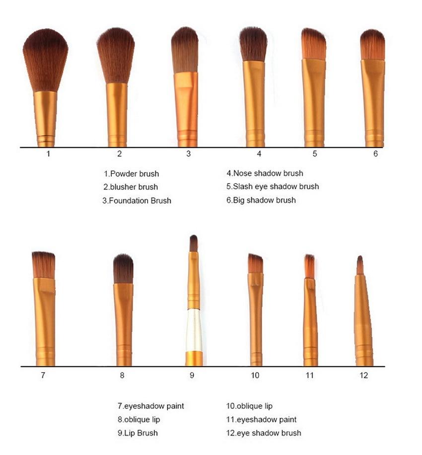 12Pcs Naked Makeup Brushes Cosmetics Tools Face Eyeshadow Eyeliner Lip Brush Set Tool Rose Gold 10