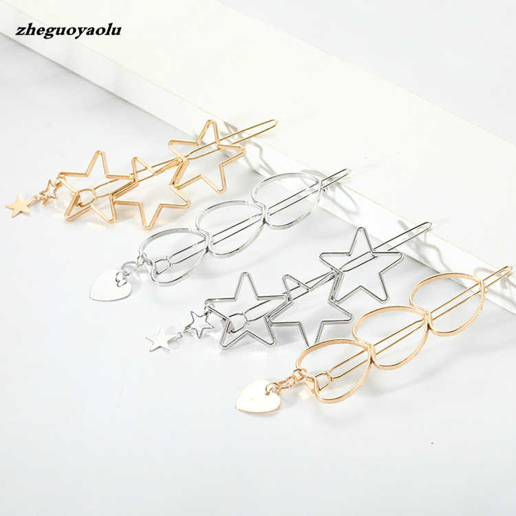 Korean Fashion Personality Student Cute Girl Heart Five-pointed Star Love Word Clip Bangs Clip Side Clip Hair Accessories Gold