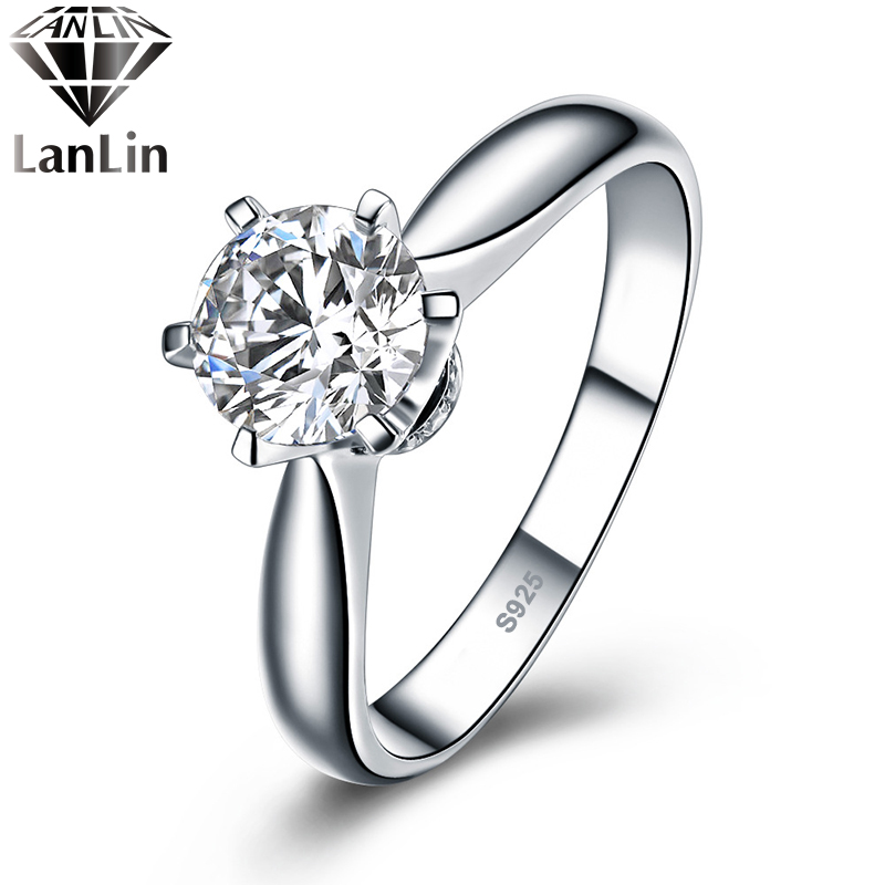 1 karat sona simulated diamond rings for women 925 sterling silver platinum plated ring sterling. Black Bedroom Furniture Sets. Home Design Ideas