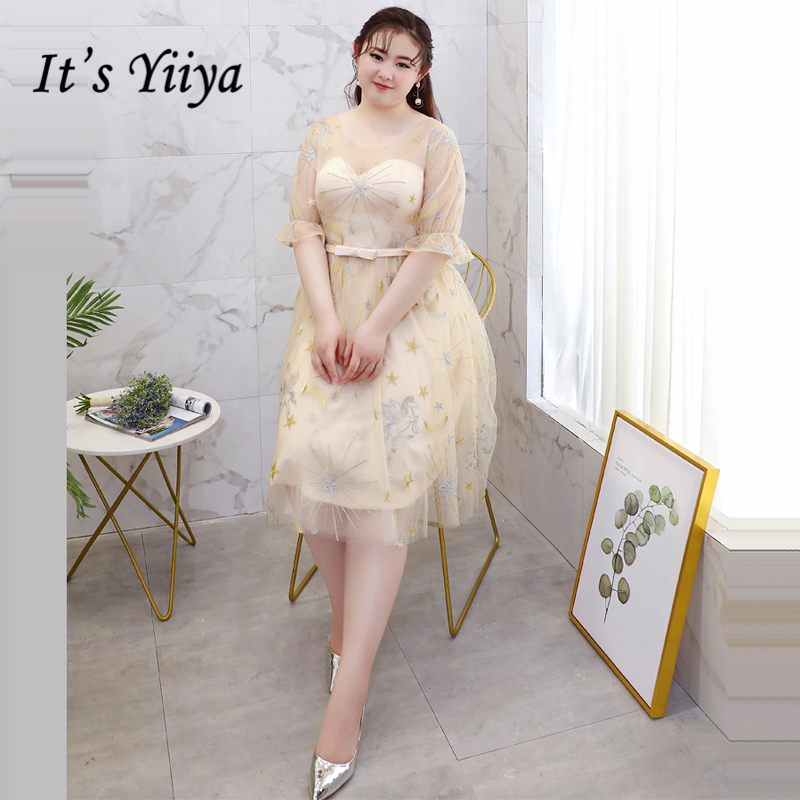 It's YiiYa   Bridesmaids     Dresses   O-Neck Half Sleeve Bow Prints Illusion Lace Formal   Dress   Lady Fashion Designer DM045