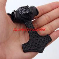High Quality Stainless Steel Classic Black Lion Head Viking Thor Hammer Pendant Necklace For Strong
