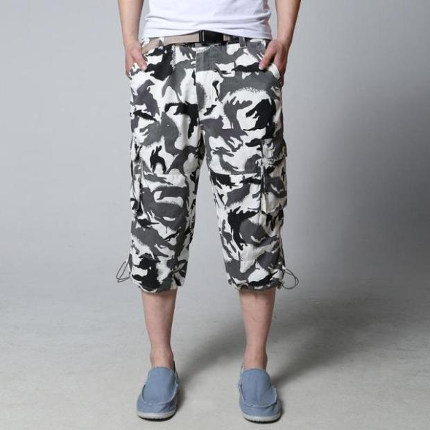 Free shipping Personalized men shorts male casual knee-length hiphop plus size camouflage short trousers 3xl 6xl 7x l8xl