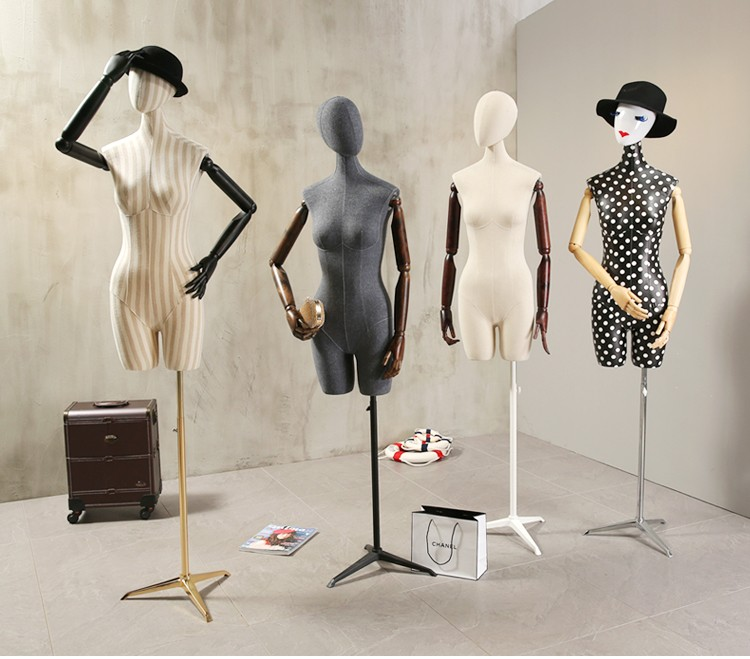 Props female half body mannequin cloth display rack high quality fashion mannequin women fabric mannequin with wooden arms (7)