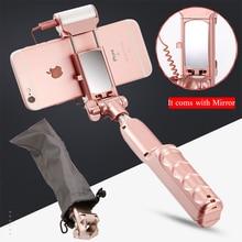 MiniPai Selfie Палка с Зеркало Заднего Вида, Bluetooth и Легкий Пульт Дистанционного Спуска Затвора Монопод Заполняющий Свет для iPhone Samsung Android Телефоны