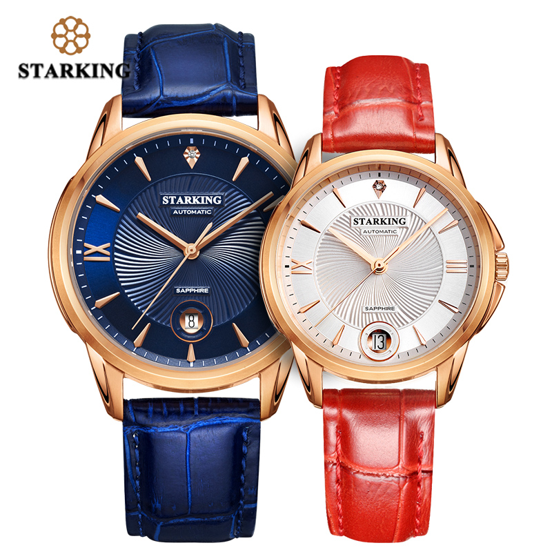 STARKING Couple Watches Ladies Mens Automatic Self-wind Sapphire Glass Wristwatch For Lover Wedding Gift Relogio Waterproof 50M