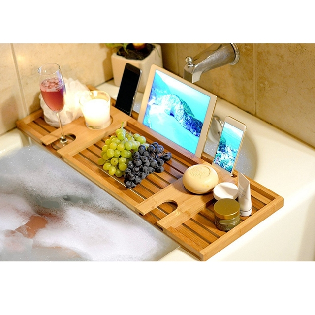 1 Pcs Wooden Handmade Bath Tray Bathroom Shelves Apply For Pad/Book ...