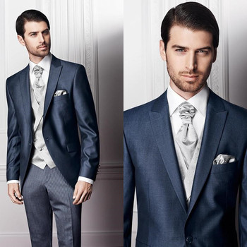 Fashion Men Suits Handsome One Button Peaked Lapel 3Pieces(JacketPantVentTie) High Quality Formal Terno Masculino Custume   A154