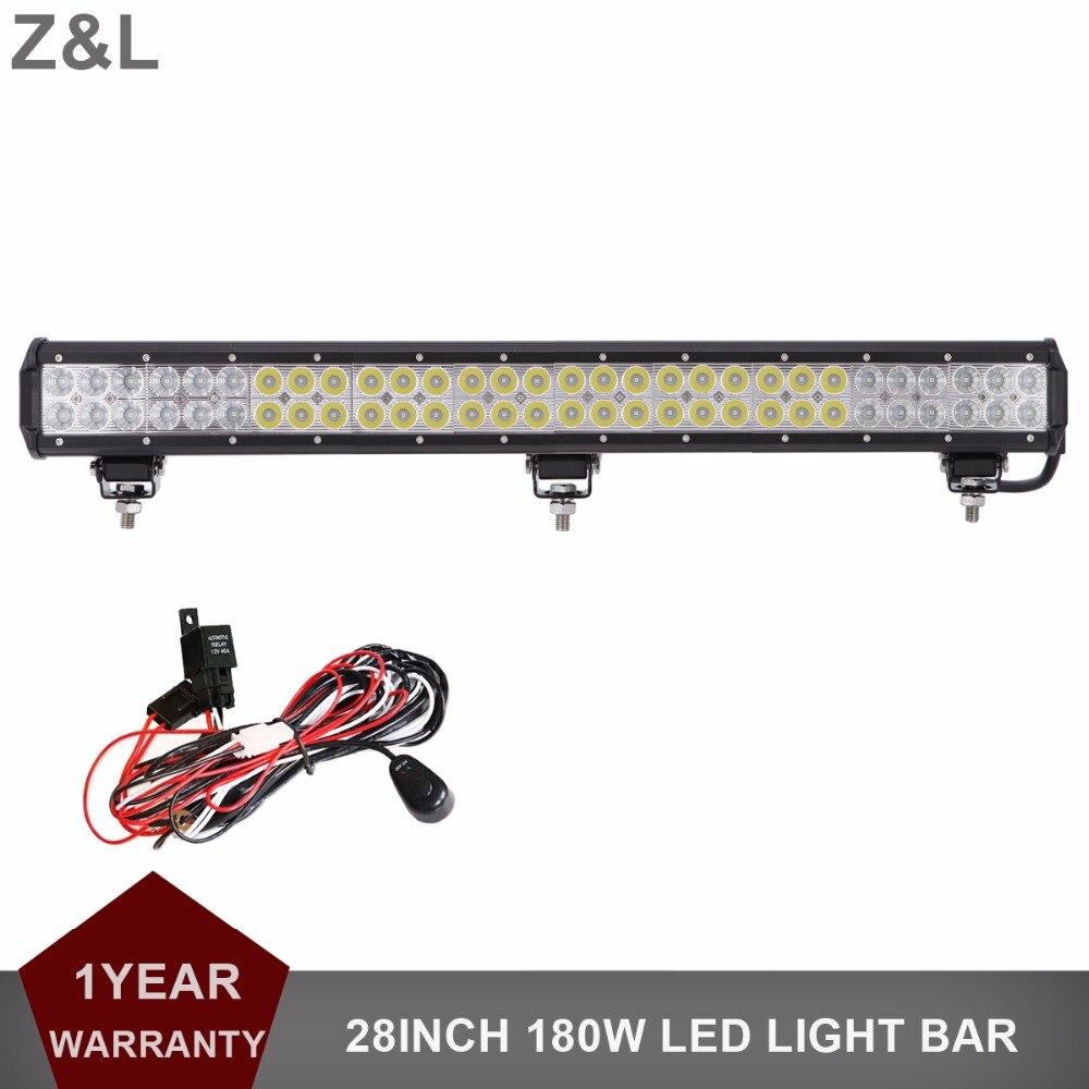 28 Inch 180W Offroad LED Light Bar Combo Car Auto Truck 12V 24V Trailer ATV Pickup SUV 4x4 4WD Truck Driving Fog Lamp Worklight