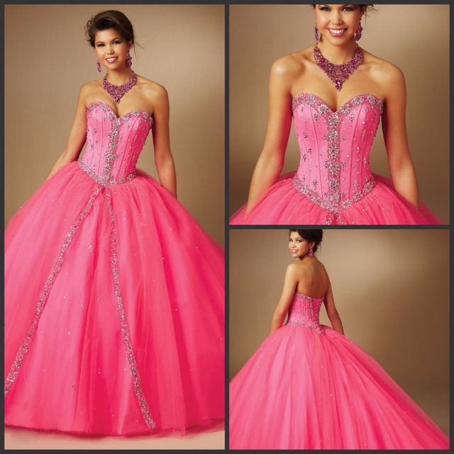 Fuschia Plum Backless Quinceanera Dresses Ball Gown Tulle with Much Beads  Sweet 16 Debutante Birthday Party Gowns 477747041af0