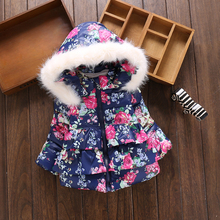 Newest Infant Winter Coats 2016 Baby Girls Warm Jacket Outdoor Children Flowers Outerwear Lace Fur Collar Thickening Kids Parkas