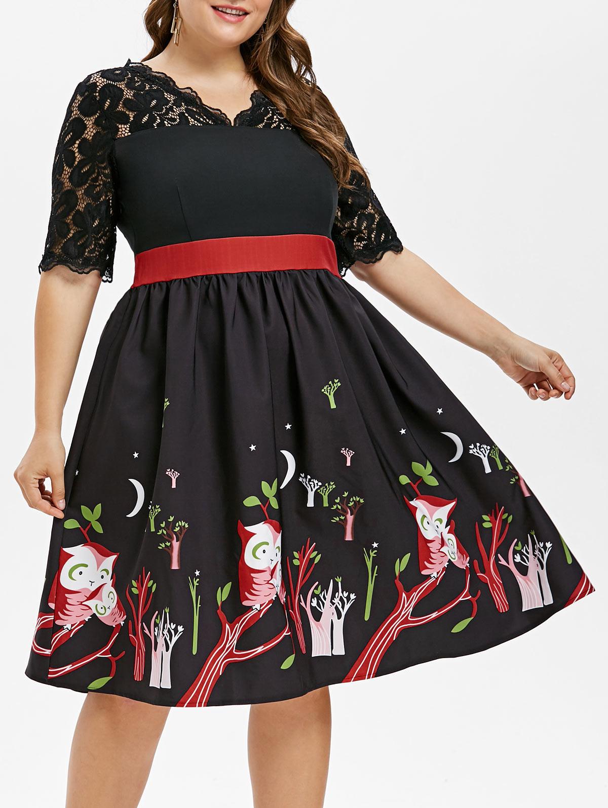 487ed2e33269b Wipalo Women Retro Dress Owl Printed V-Neck Vintage Dress Plus Size Lace  Yoke Half Sleeves A-Line Party Dresses Femme Vestidos
