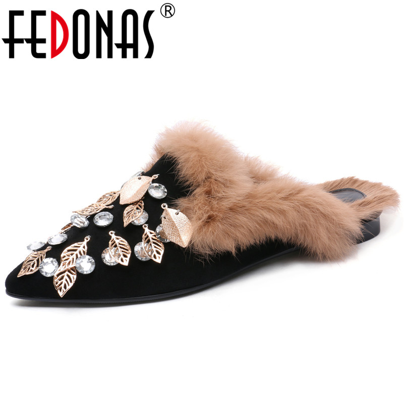 FEDONAS Retro Women Mules Shoes Woman Thick Heels Autumn Winter Casual Shoes Suede Leather Rhinestone Wedding Party Shoes Woman цена 2017