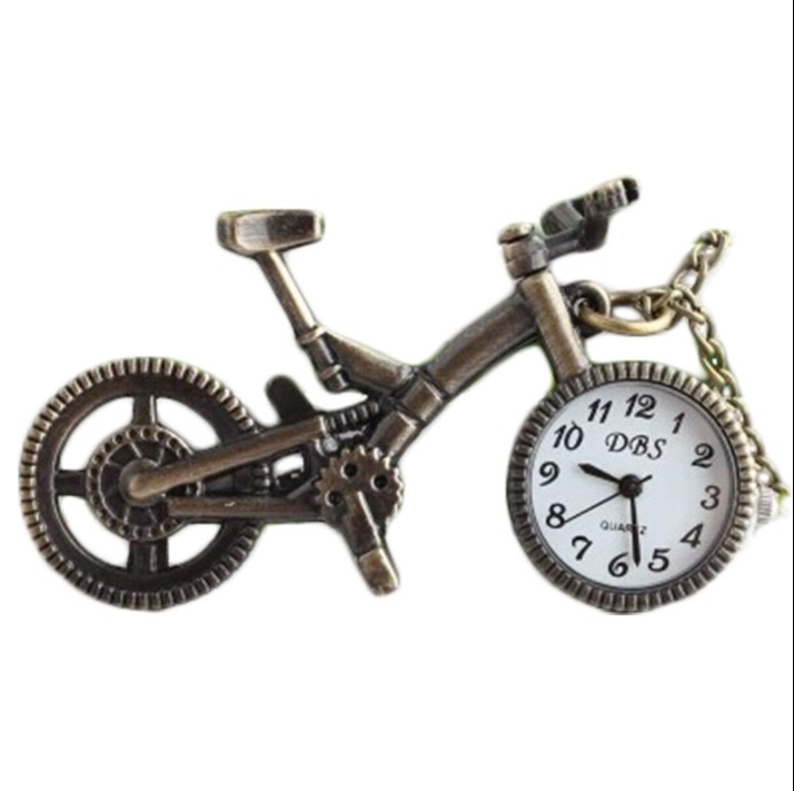 Retro Bike Bicycle Shaped Quartz Pocket Watch Bronze Wheel Necklace Pendant Clock Fashion Gifts For Men Women Kid Bicycle Gift