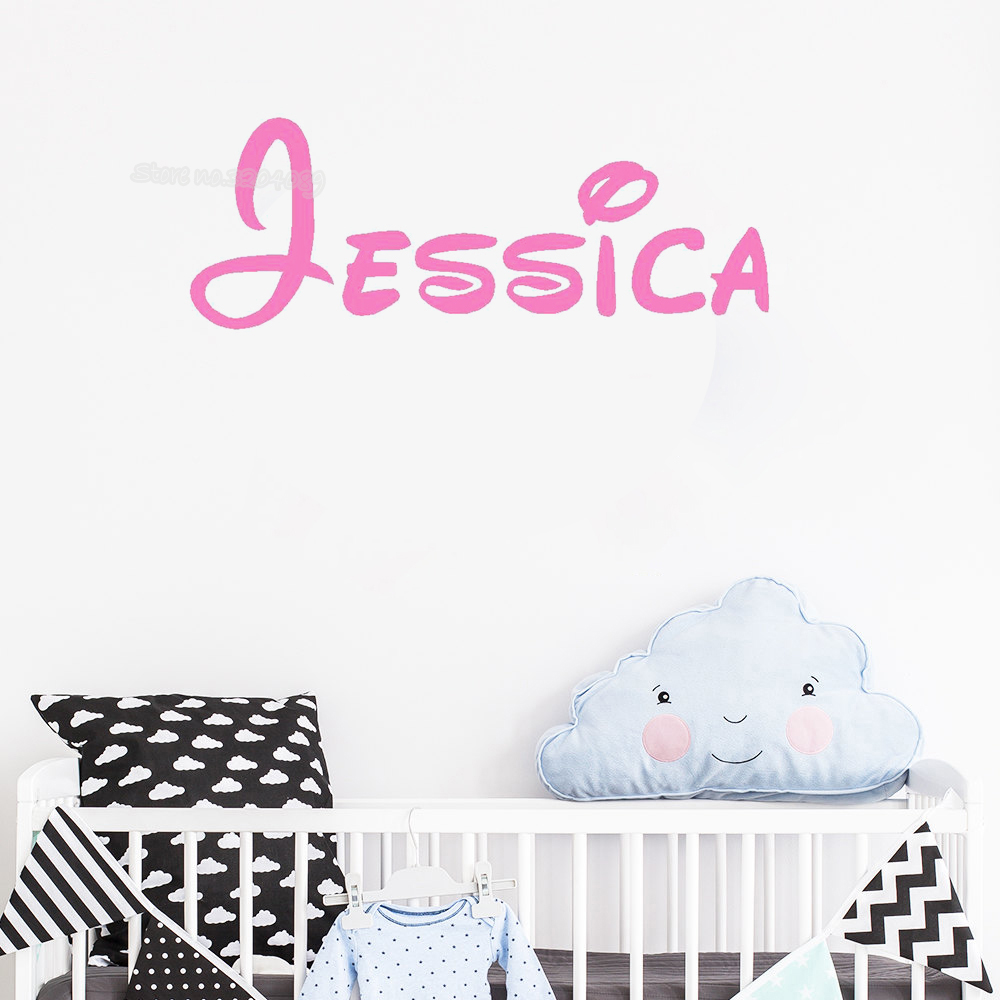 US $1.1 15% OFF|Personalized Customized Name Wall Sticker Boy girl Home  Decor Children bedroom Nursery Removable Vinyl Decal Art wallpaper SE046-in  ...