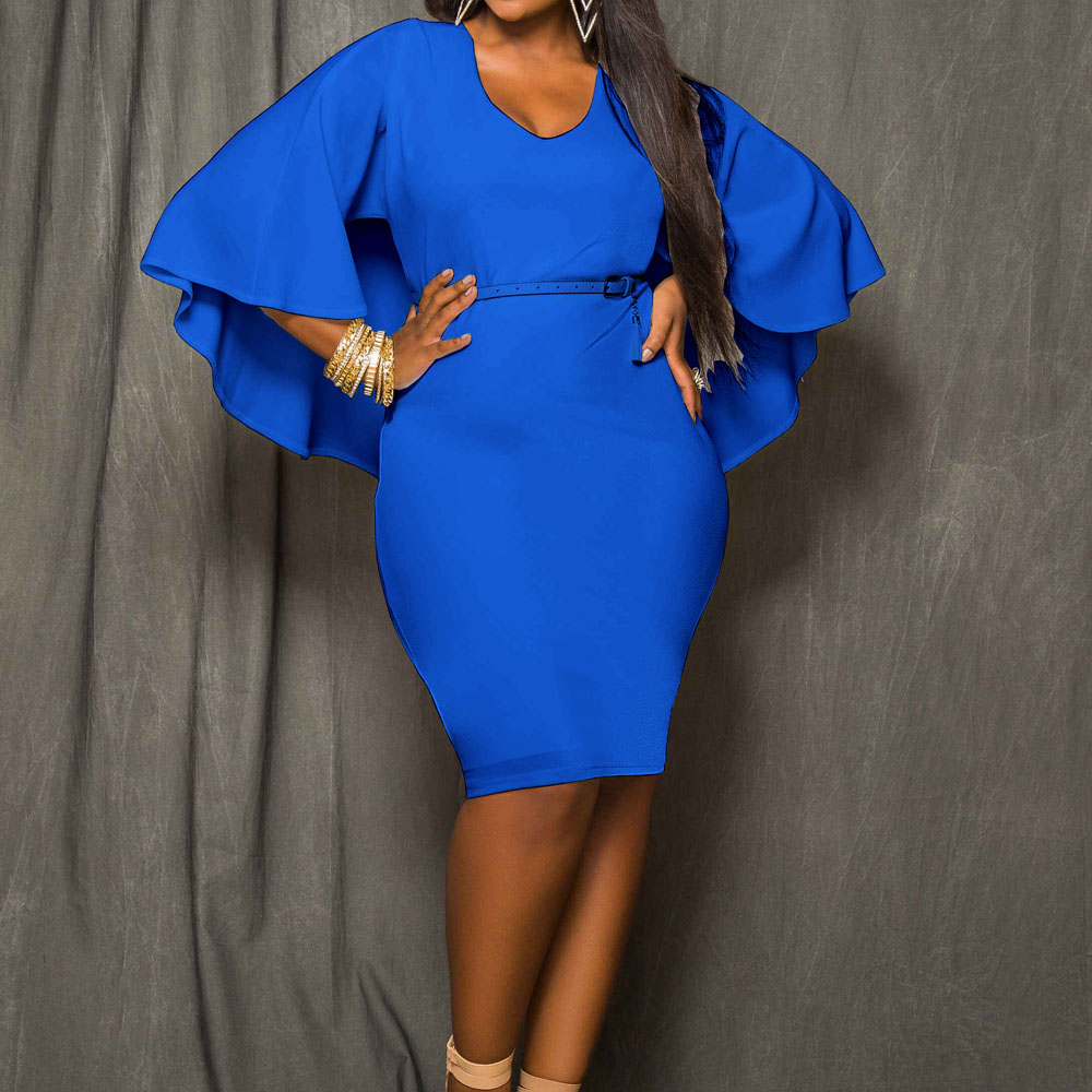 8212b71f27efbc Elegant Royal Blue Women Summer Dress Cape Stretchy Bodycon Bandage Party  Dresses Ladies Vestidos Club Outfits Plus Size XXXL