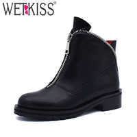 WETKISS Plus Size 34-42 Ankle Boots Women Round Toe Zip Pu Footwear Platform Female Boot Thick Med Heels Shoes Women 2019 Spring