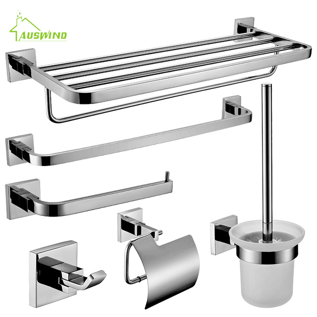 wall mounted bathroom accessories set. Modern SUS 304 Stainless Steel Round Solid Chrome Wall Mounted Bathroom  Accessory Sets Towel Bar Paper