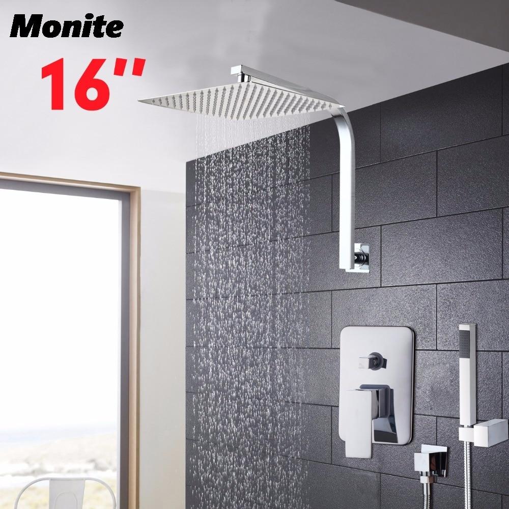 16 Bathroom Wall Mount Rainfall Showe Set Bath Faucet Head Stainless Steel Hand Spray Control Valve Bathroom Faucet Nixer