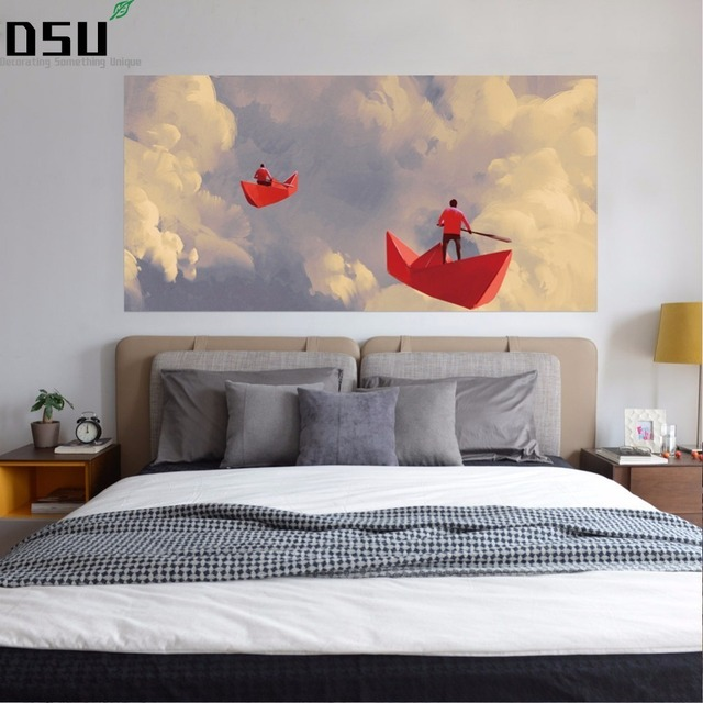 3D Men On Origami Red Paper Boats Floating In The Cloudy Sky Illustration Painting Bed Headboard Wall Sticker Bedroom Home Decor
