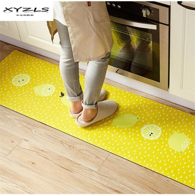 € 26.34 15% de réduction XYZLS coréen PU bienvenue tapis de sol jaune  citron imprimé cuisine tapis maison paillassons pour salon tapis anti ...
