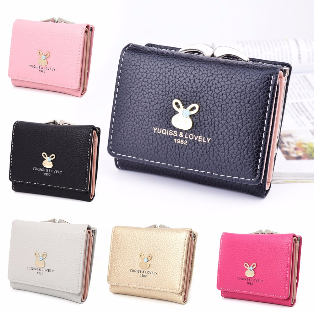THINKTHENDO Fashion Lady Women Leather Short Purse Wallet Clutch Coin Bag Card Holder Women Hasp Wallet Cute Small Mini Bags