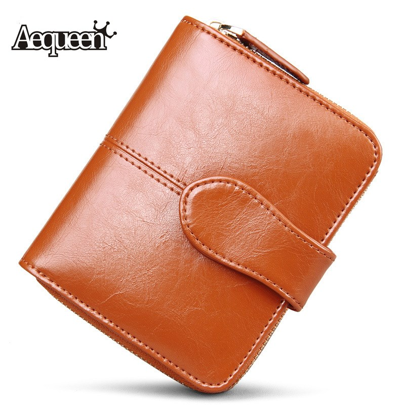 AEQUEEN 100% Genuine Leather Wallets Women Short Wallet Womens Cowhide Coin Purse Card Holder Lady Purses Small Clutches