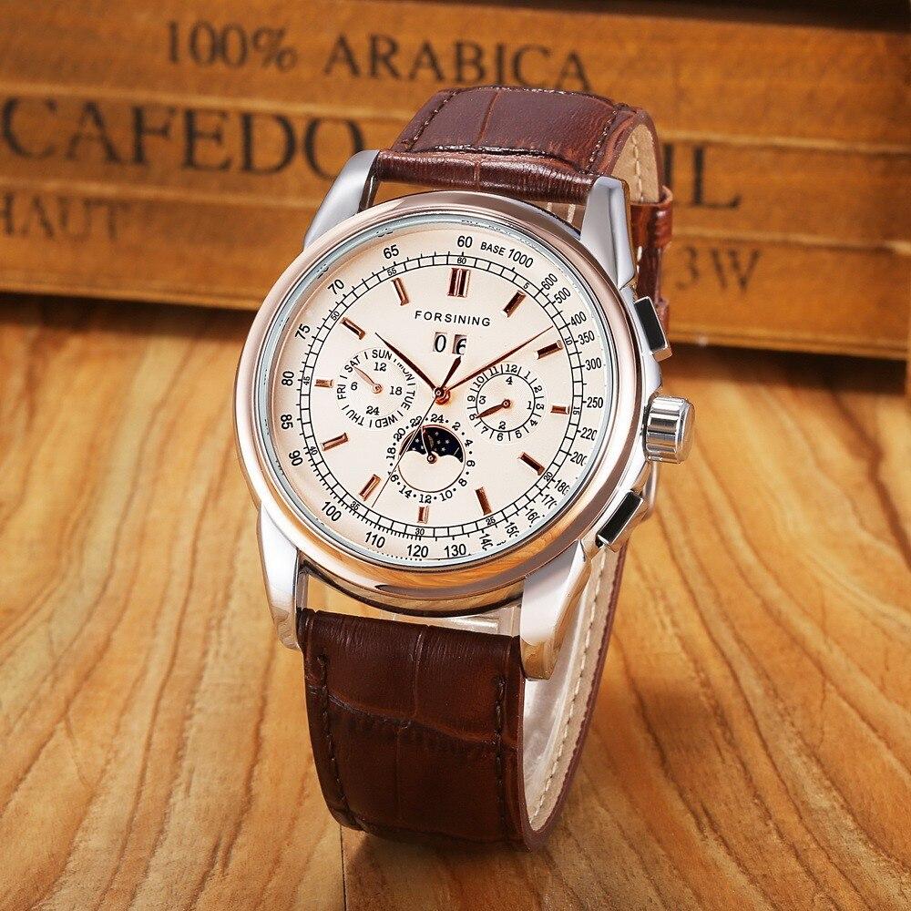 Forsining 고급 자동 라운드 샴페인 컬러 다이얼 남자 시계 브라운 정품 가죽 스트랩-에서기계식 시계부터 시계 의  그룹 1