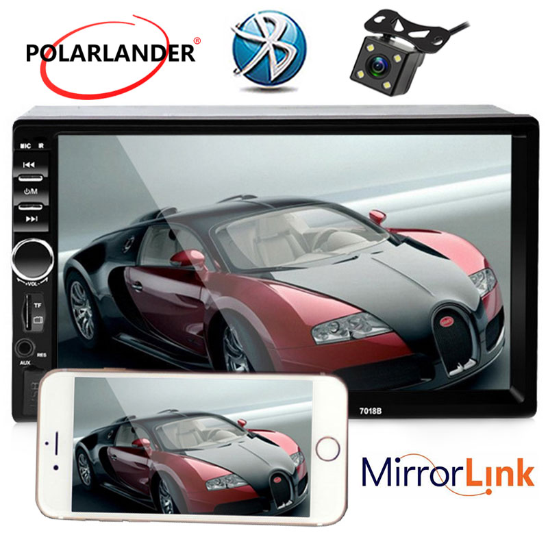 Car Radio Player Bluetooth Car Audio 7 Inch LCD Touch Screen 2 Din Optional 170 degree CCD support rearview camera Mirror link