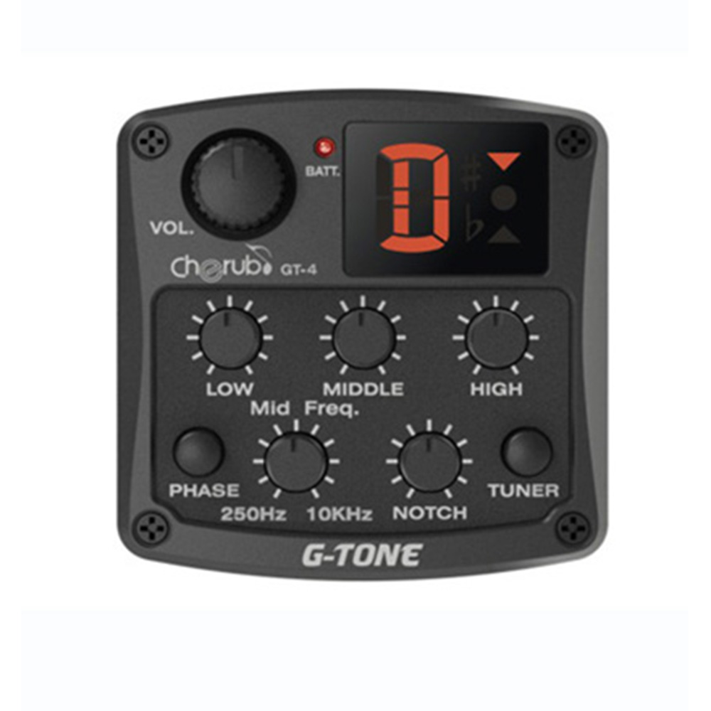 Cherub GT-4 3-Band EQ Equalizer with Chromatic Tuner Mid Frequency Control Piezo Ceramic Pickup Use For Guitar pedals Pickup joyo eq 307 folk guitarra 5 band eq acoutsic guitar equalizer high sensibility presence adjustable with phase effect and tuner