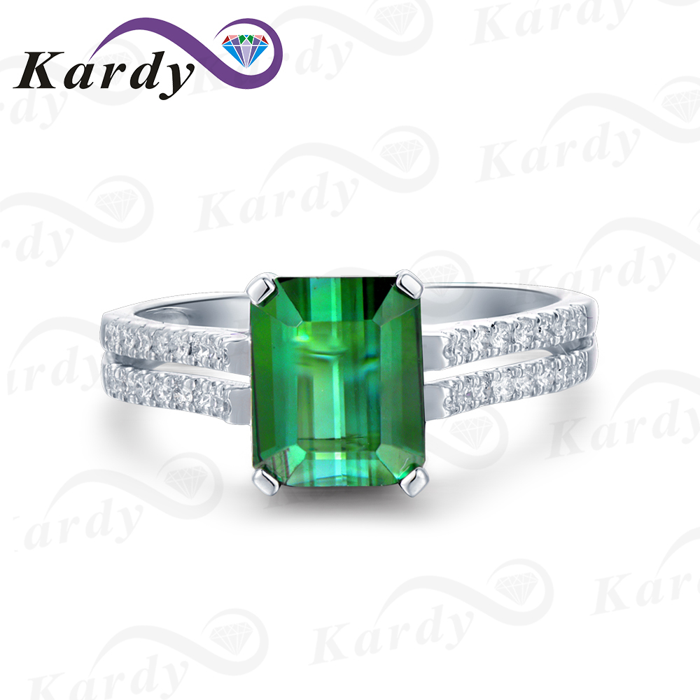 Green Tourmaline Natural Gemstone Prong Set Eternity Diamond Anniversary Wedding Ring Band for Women 14K White Gold