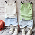 2016 novos dos desenhos animados bebê menino roupas de verão Set regata + Shorts Kid Boy verão Set crianças menino roupas sem mangas definir